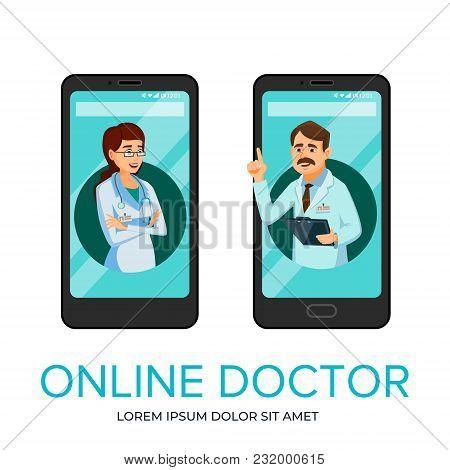 Vector Cartoon Online Doctor, Medical Communication Technology Concept, Mobile Application Service A