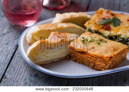 Lasagna With Bolognese And Camembert Cheese Pie