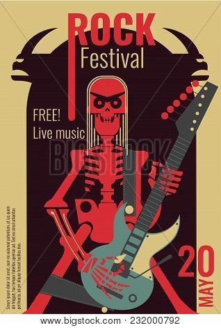Rock Music Live Festival Poster Vector Illustration For Free Entry Placard To Rock Concert. Design T
