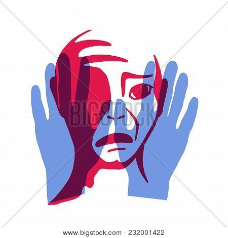 Discrimination Against Human Beings. The Hand And The Face Of A Man. Vector Illustration.