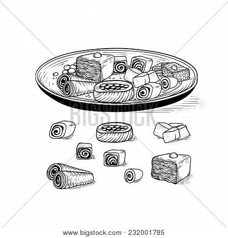 Vector Oriental Traditional Sweets In Range. Dish With Variety Asian Ethnic Confectionery Product An