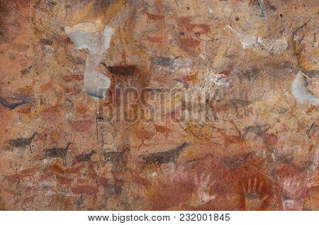 Rock Art Near The Cuevo De Las Manos.