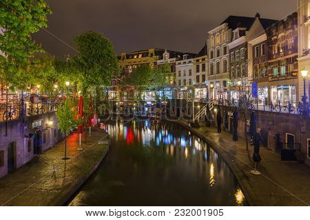 UTRECHT NETHERLANDS - APRIL 24, 2017: Central district on April 24, 2017 in Utrecht Netherlands.