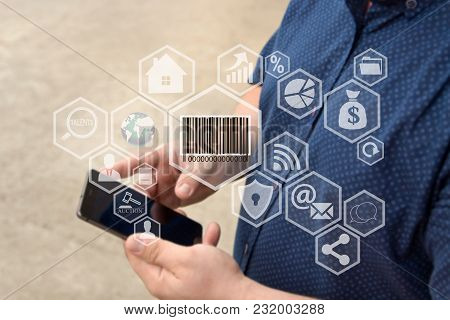 Barcode Product , Button On The Touch Screen With A Blur Background Of The Businessman With The Phon