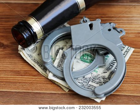 Bottle Beer, Handcuffs And Dollars, The Concept Of Sobriety And Drunkenness