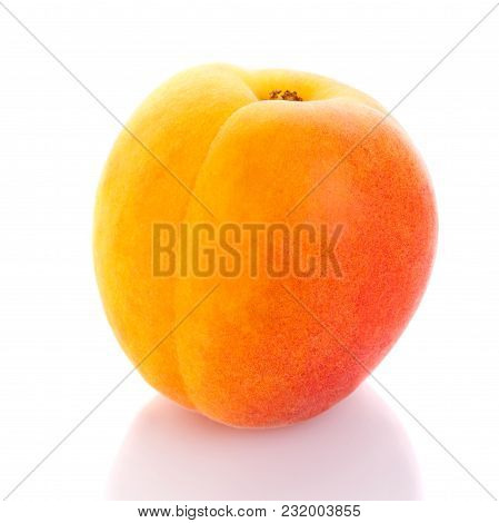 Isolated Peach. One Peach On White Background.