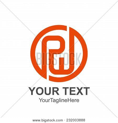 Initial Letter Pw Logo Template Colored Orange Circle Design For Business And Company Identity