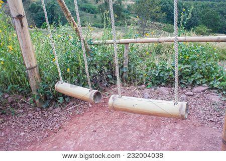 Dual Bamboo Swing On The Mountain. Beautiful