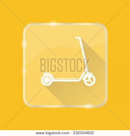 Flat Style Kick Scooter Silhouette Icon With Long Shadow On Transparent Square Button
