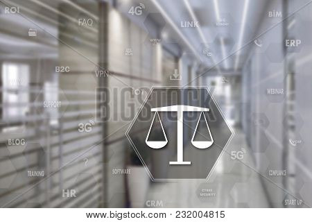 Libra With The Security Shield On The Touch Screen With A Blur Background Of The Office.the Concept