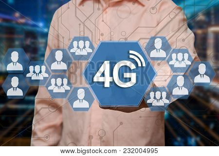 An Elderly Businessman Chooses 4g Wireless Connection On The Touch Screen With A Blur Futuristic Bac