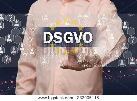 Dsgvo,grundlegende Datenschutzbestimmungen. An Elderly Businessman Chooses Gdpr, General Data Protec