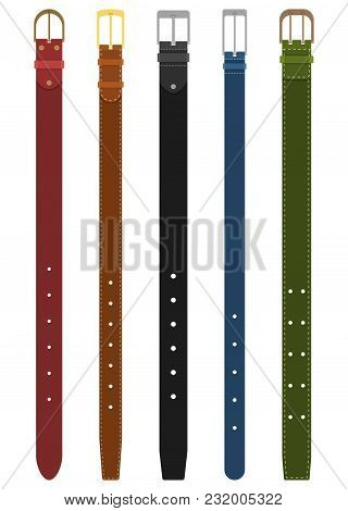 Set Of Different Colored Belts With Buckles Isolated On White Background. Element Of Clothing Design