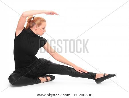 Beautiful dancing girl on a white background.