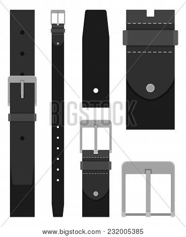 Black Leather Belt With Buckle Isolated On White Background. Element Of Clothing Design. Belt Trouse