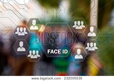 Face Identification On The Touch Screen For Log On To The Network, On People Blur Background.concept