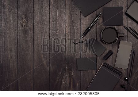 Dark Deluxe Black Blank Stationery, Mockup Scene With Phone, Coffee On Black Wooden Plank, Blank Obj