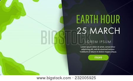 Illustration Of Earth Hour. 25 March. Our Planet Sleeps. Flat Design Vector Illustration For Web Ban