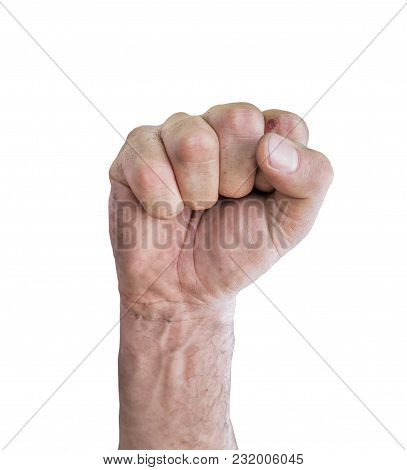 Closeup Of Right Male Hand Raised Up Clenched Fist