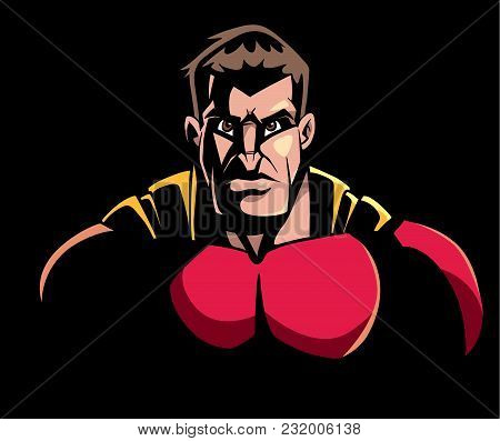 Comics Style Llustration Of The Portrait Of Powerful Superhero Looking At Camera With Tough Facial E