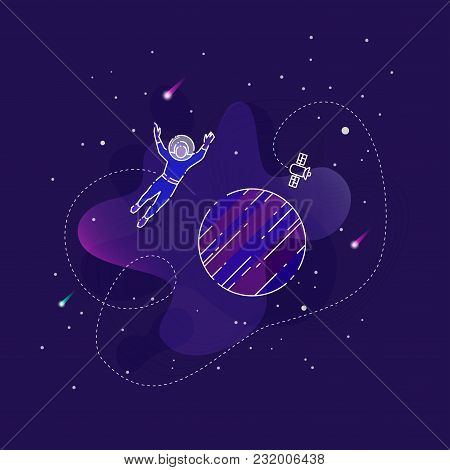 Vector Illustration Of An Astronaut Flying Over Planet In An Outer Space On Dark Blue Background.