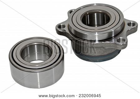 Wheel Hub, Wheel Bearing Car Isolated On White Background.spare Parts For The Car .