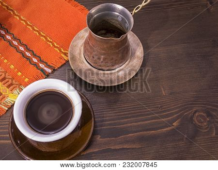 Coffee. Turkish Coffee Being Made In A Traditional Way. Armenian Turkish Coffee. The Copper Coffee P