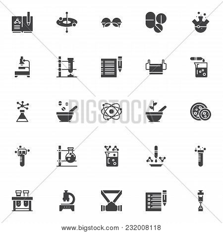 Chemistry Science Vector Icons Set, Modern Solid Symbol Collection, Filled Style Pictogram Pack. Sig