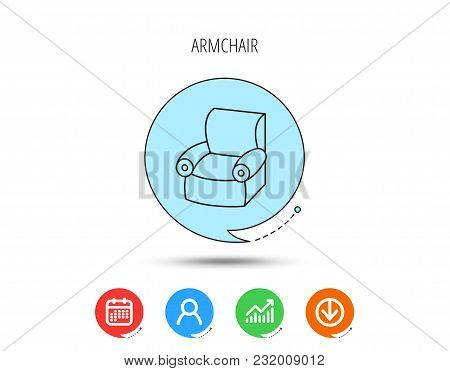 Armchair Icon. Comfortable Furniture Sign. Calendar, User And Business Chart, Download Arrow Icons.