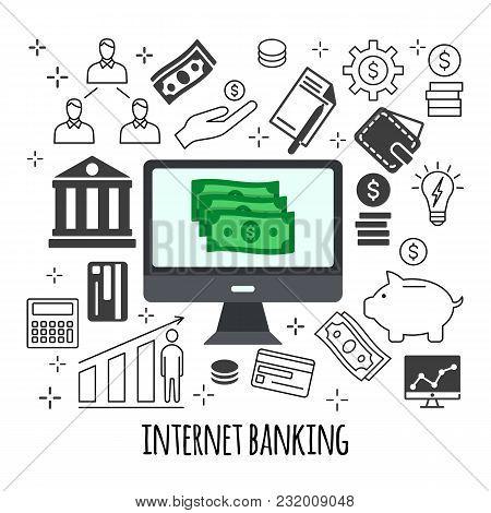 Sending And Receiving Money Illustration. Flat Line Design Style Concept For E-commerce, M-commerce,