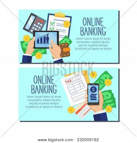 Online Banking Banners. Bank Account Online Access Protection Consept. Modern Banking Internet Elect