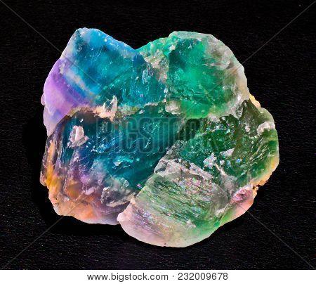 Green Blue Magenta Transparent Fluorite Mineral Crystal Stone Gem Black Background