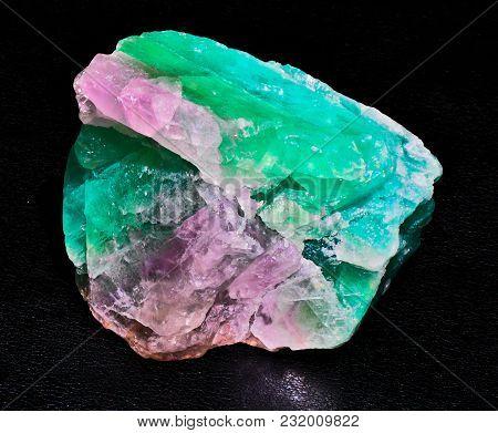 Green Blue Transparent Fluorite Mineral Stone Gem Black Background