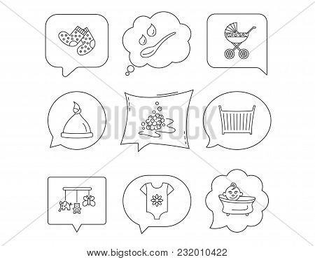 Baby Clothes, Bath And Hat Icons. Pram Carriage, Spoon With Drops Linear Signs. Socks, Baby Toys And