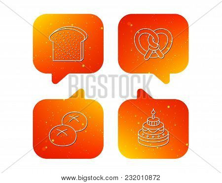 Cake, Pretzel And Bread Rolls Icons. Toast Linear Sign. Orange Speech Bubbles With Icons Set. Soft C