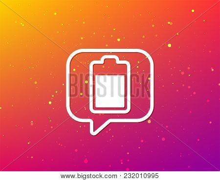 Battery Power Icon. Charging Accumulator Symbol. Soft Color Gradient Background. Speech Bubble With