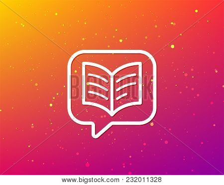 Book Icon. Study Literature Sign. Education Textbook Symbol. Soft Color Gradient Background. Speech