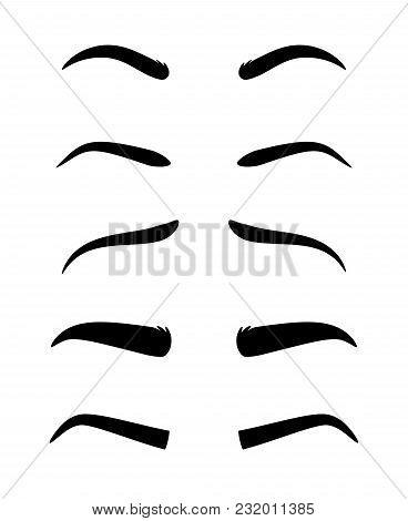 Eyebrows. Vector Dark Eyebrow Model Set Of Different Shapes Isolated On White Background, Thick Ans