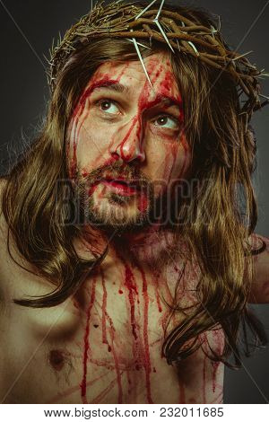 representation of the Calvary of Jesus Christ on the cross. Holy Week in Spain. man with crown of thorns