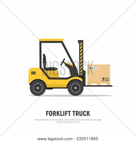 Isolated Forklift Truck With Boxes On Pallet On White Background. Shipping. Distribution Warehouse.