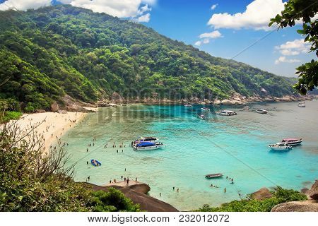 Beautiful White Sand Beach With Boats, From View Point At Similan Island No.8 At Similan National Pa