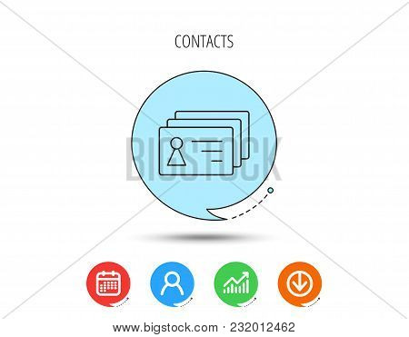 Contact Cards Icon. Identification Badges Sign. Identity Holder Symbol. Calendar, User And Business