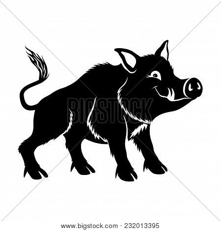 Cute Wild Boar On A White Background.