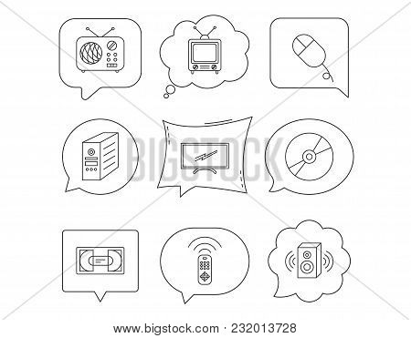 Retro Tv, Radio And Dvd Disc Icons. Pc Mouse, Vhs Cassette And Sound Speaker Linear Signs. Linear Sp