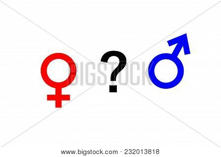 The Female Gender Symbol And The Male Gender Symbol And Question Mark.the Female Gender Symbol And T