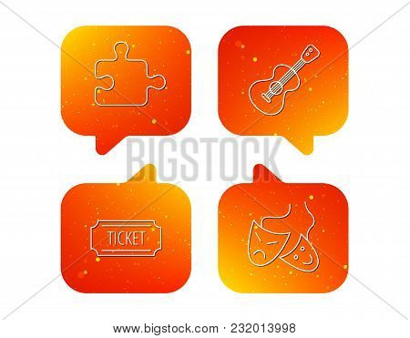 Puzzle, Guitar Music And Theater Masks Icons. Ticket Linear Sign. Orange Speech Bubbles With Icons S