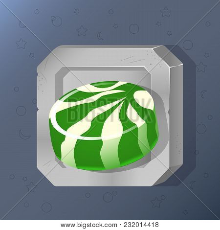 Game Icon Of Green Candy In Cartoon Style. Bright Design For App User Interface. Food For Restore Li