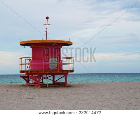 A Red Lifeguard Station In Miami Florida