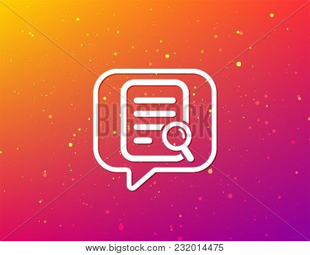 File Search Icon. Document Page With Magnifier Tool Symbol. Soft Color Gradient Background. Speech B