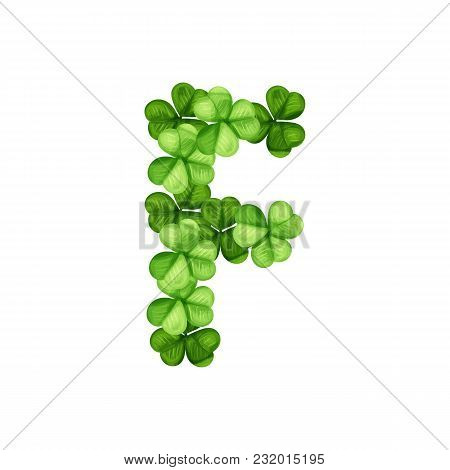 Letter F Clover Ornament Isolated On White Background